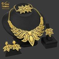 Earrings & Necklace Flower Jewelry Set Wedding African Gold Color Bracelet Earring Ring Dubai Nigerian 24K Plated Jewellery Sets