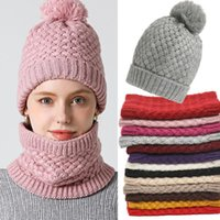 Hats, Scarves & Gloves Sets Winter Scarf Unisex Solid Knitted Set Neck Ring Hat Snood Beanie Fur Cap Men Cashmere Warm Wool Collar Scarfs Ki