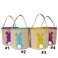 Симпатичные пасхальные сумки Bunny Bags Barrel Bucket Bucket 6 стилей мешковины кролика, кролика с блестящими холстами Tote Buggy сумка подарки яичные конфеты сумка G10508