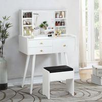 Backh Vanity table set maquiagem molho com espelho deslizante, 3 gavetas 6 prateleiras, mesa de vestido de quarto, fezes amortecidas meninas mulheres brancas