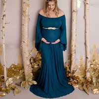 New Maternity Photography Prop Pregnancy Long Sleeve Cotton Chiffon Maternity Sexy Strapless Gown Photo Shoot Pregnant Dress X0902