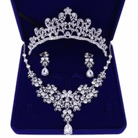 Wedding Jewelry Sets Korean Top Quality Crystal Bridal For Women Bride Tiara Crowns Earring Necklace Accessories