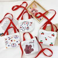 Cute New 2021 Bag Coin Children's Bear Baby Girl Canvas Hand Cartoon Messenger Strawberry Purse Ligme