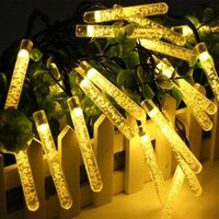 Строки LED de Energia Солнечные сосульки Bolha AR Luzes Fadas Natal Corda Ao Livre Prova Daterofture Gua Jardim Festo Guirlanda
