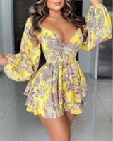 Casual Dresses Sexy Deep V Neck Lantern Sleeve Layered Ruffles Print Women Fashion Elegant Bohemia Mini Dress Vestidos