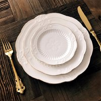 Dishes & Plates European Gold Rim Relief Ceramic Steak Dish Dessert Plate Fruit Bowl Meal Pasta Salad Dinnerware