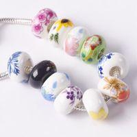 Другие 10 шт. 15 мм х 9 мм круглые цветочные узоры керамические фарфоровые большие отверстие свободно шарики для ювелирных изделий европейские подвески браслет делает DIY