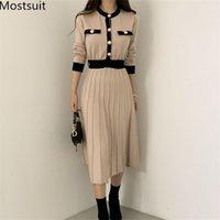 한국어 우아한 니트 롱 드레스 여성 색상 차단 된 단일 브레스트 긴 소매 O 넥 A 라인 주름 젖꼭지 vestidos 210303