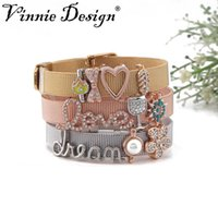 Tennis Vinnie Design Jewelry Stainless Steel Mesh Wrappable Bracelets With Crystal Slide Charms