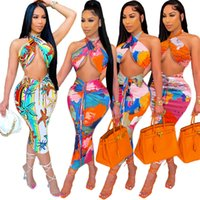 Womens Casual Two Piece Dress Fashion Trend Printing Backless Wrap Chest Tops Skirts 2pcs Sets Designer Summer Female Pleated Hip Skirt Suits