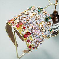 Vintage Print Flower Headband for Woman Elegant Color Crystal Beaded Hairband Female Wedding Hair Accessories