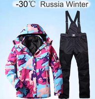 Thick Warm Ski Suit Women Waterproof Windproof Skiing and Snowboarding Jacket Pants Set Female Snow Costumes Outdoor 2 in 1 Wear