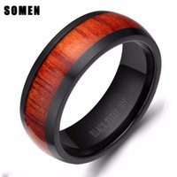 Wedding Rings Brand 8mm Mahogany Wood Ring Men Dome Black Titanium Engagement Band Fashion Male Jewelry Not Fade Comfort Fit