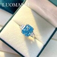 Luomansi Real S925 Стерлинговое серебро Муассанит Драгоценный камень Алмазное Обручальное кольцо Женщины Высокие Ювелирные Изделия Оптом Y0611