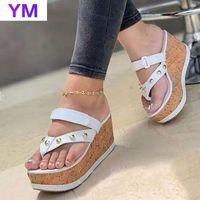 Sandals Women Wedges Summer Peep Toe Rivets Casual Slip On Platform Flip Flops Ladies Party Sandalias Mujer