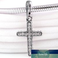 Original Classic Cross With Crystal Necklace Pendant Beads Fit 925 Sterling Silver Charm Bracelet Bangle DIY Jewelry Factory price expert design Quality Latest