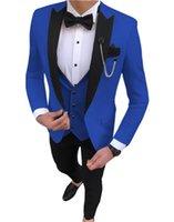 Men's Suits & Blazers 2021 Royal Blue Slim Fit Wedding Costume Suit For Men Groom Tuxedos 3 Pieces Groomsmen Party Tuxedo