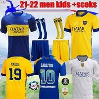 21 22 Boca Maradona Tevez Futebol Jersey Juniors Juniors Kit Alexis de Rossi 2021 2022 Carlitos 3 Camiseta Futbol Football Kids Sets