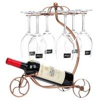 Настольные винные стойки для хранения 6 Stemware 1 бутылка ретро металлический велосипедный стеклянный стеклянный подставки для домашнего декора