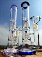 Double Matrix Perc Bong Dab Rig Tube Glass Bong 14mm Joint Bowl with Ice Holder Glass Water Bongs