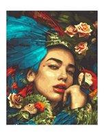 Dipinti Unframe FAI DA TE By Numbers Figure Pittura Paint Numero per la casa Decor 4050cm Flower Lady