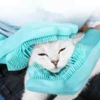 Pet Massage Gloves Rubber Scrub Gloves Kitchen Cleaning Dishwashing Scrubber Dish Washing Sponge Anti-scratch Glove