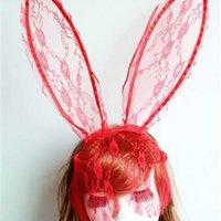 Headband hot cosplay máscara rosto olho laço véu coelho coelho orelha de cabelo hairband halloween festa de natal fancy vestido bola m