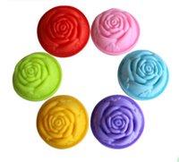 Wholesale 8cm Korea Rose 60ml hand made Soap molds FDA grade Silicone Cake muffin Molds Bakeware tool
