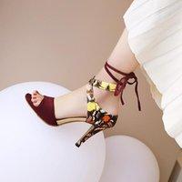ochanmeb 2021 새로운 여름 샌들 신발 여자 스트라이프 발목 랩 인쇄 꽃 엿보기 발가락 샌들 큰 플러스 사이즈 44 숙녀 하이힐