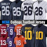NCAA Penn State Nittany 26 Saquon Barkley Jersey 10 TOM BRADY 97 NICK BOSA MICHIGAN WOLVERINES College Football Trevor Lavrence Joe Burrow Tua Tagovaiilo