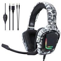 2021 ONIKUMA K20 Camo Bianco CUSTOM CUSTOM RGB Stereo Gaming Gaming Cuffie Cuffie con microfono per PS4 Gamer