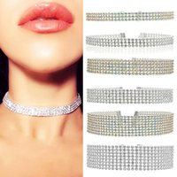 Chokers 2pcs Crystal Rhinestone Choker Necklace Women Wedding Accessories Silver Color Chain Punk Gothic Jewelry