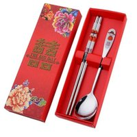 150 Pcs lot Stainless Steel Dinnerware Double Happiness Red Color Spoons Chopstick Sets Wedding Party Gifts For Guest