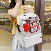 Рюкзак чистая школьная сумка дети сумки подросток черный модный ноутбук женские бухгалтерские сумки для девушки рюкзаки прозрачные для девушки женские 210303