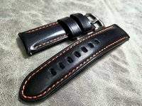 Watch Bands Handmade Genuine Leather High Quality 20mm 22mm 24mm Thick Cowhide Strap Men's Black Band Universal Watchbands