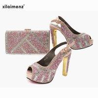2021 Nueva llegada de estilo clásicos en color rosa, zapatos y bolsos italianos, zapatos de bolsa de mujer, zapatos de fiesta de mujeres nigerianas bolsa de juego