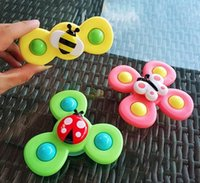 US STOCK New upgraded version of revolving insect revolving Le baby fingertip top revolving flower sucker Baby Bath Toy FY4472