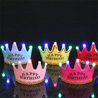 foldable LED light Novelty Lighting child kids children happy birthday party king princess crown cap hat headband with LEDs lights