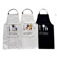 Women Men Apron Commercial Restaurant Home Bib Spun Poly Cotton Kitchen Aprons BWD10042