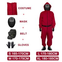 Theme Costume Game of squid red TV overalls mask gloves cosplay suit for haloween Korean party li zhengjae style clothes E637