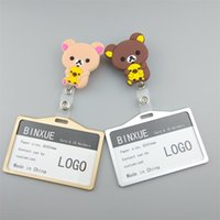 Card Holders BINXUE Employee Cover Aluminum Alloy Cartoon Material Durable ID Badge And Transverse