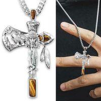 Pendant Necklaces Cross Necklace Viking Eagle Wolf Ax Indians Alloy Punk Unisex Women Men Jewelry Wholesale