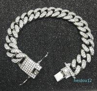 Mens Luxury Iced Out Diamond Fashion Bracelets Bangles High Quality Gold Cuban Link Chain Miami Bracelet Hip Hop Jewelry