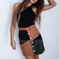 Skirts Women High Waist Suede Button Skirt Ladies Fashion Panalled Splice A-Line Frauen Slim Elegant Short Mini Summer S