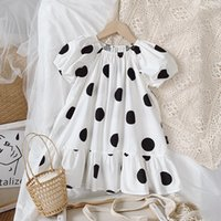 Девушки в горошек по размеру платья лето дети бутик одежды корейский оригинальный дизайн 2-7T детей с короткими рукавами платье хорошее качество
