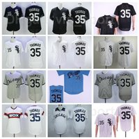 Retro 2005 Baseball Vintage 35 Frank Thomas Jersey Stitched Equipe Preto Branco Cinza Cinza Azul Flexbase Cool Cooperstown Pinstrie Pullover