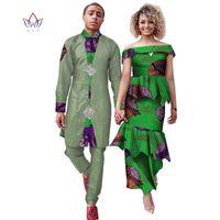 Etnik Giyim 2021 Eşleşen Çift Giyim Kadın Etek Seti ve Erkekler Pantolon 2 Takım Kıyafetler Afrika Severler Için WYQ701
