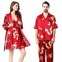 Любовный шелковый сатин Pajamas женские спящие одежды набор летние с коротким рукавом удобные плавные сонные пары мужчин китайский дракон лаундж халат платье