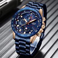 2021 LIGE New Mode Casual Mens Montres Haut Montre-Bracelet Quartz Horloge Imperméable Sports Montres Hommes Relogio Masculino