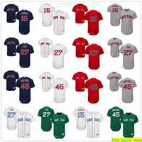 Personalizado 2019 homens mulheres juventude Majestic Baseball Jersey Crianças 15 Dustin Pedroia 27 Carlton Fisk 45 Pedro Martinez Branco Azul Vermelho Costurado Jersey